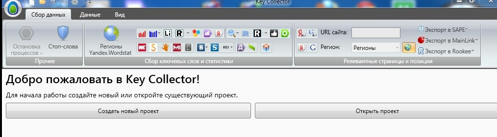 Key Collector - входное окно